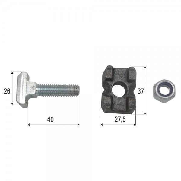 Set de vis M10x40 convient à chaîne de sol racleur 10x31, 10x35, 10x38, 11x31, 11x35