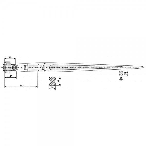 Großballenzinken Standard, Doppel-T-Profil