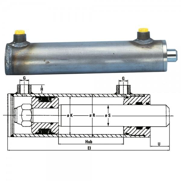 cylindre hydraulique piston Ø K= 60 mm, tige de piston Ø S = 40 mm