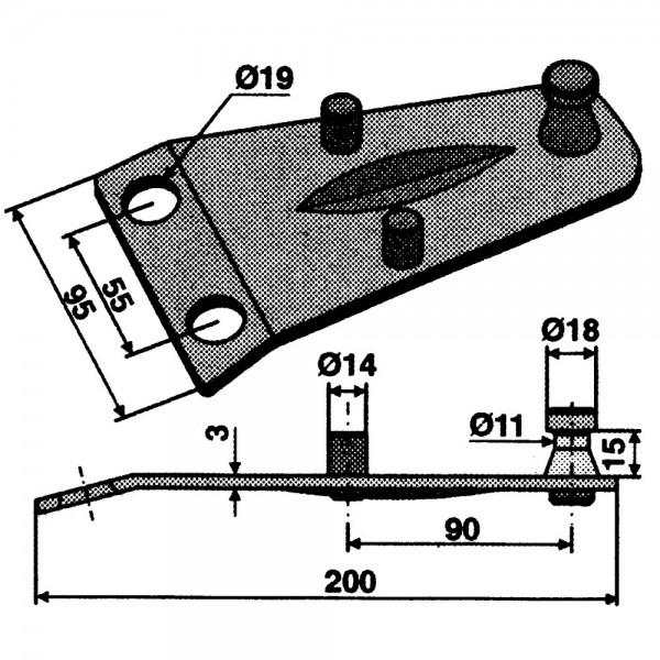 Fixation de couteau rotatif convient à Deutz-Fahr, Pöttinger, Fort, Kuhn