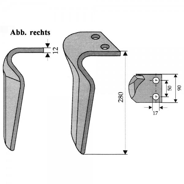 Dent pour herses rotatives droite